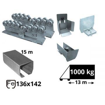 Kit SAP-136x142-Fe-H Sistem autoportant cu sina de fier pentru deschidere de 13 metri