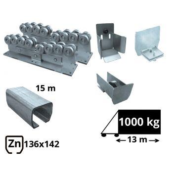 Kit SAP-136x142-Zn-H Sistem autoportant cu sina zincata pentru deschidere de 13 metri