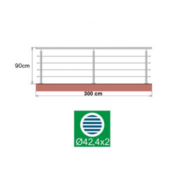 Kit balustrada din inox Ø42,4x2 mm, inaltime 90 cm, lungime 300 cm