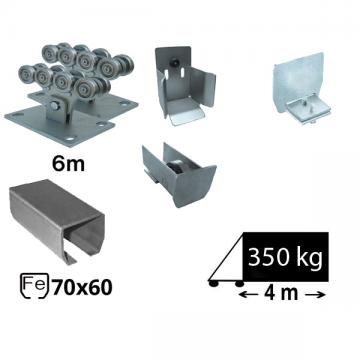 Kit SAP-70x60-Zn Sistem autoportant cu sina zincata pentru deschidere de 4 metri