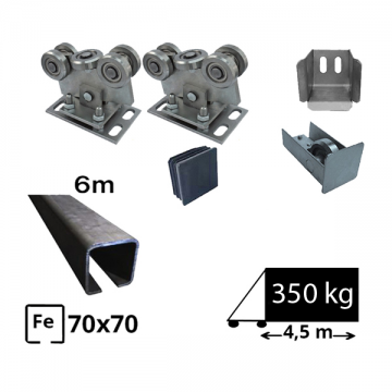 Kit SAP-70x70B-Fe Sistem autoportant pentru deschidere de 4,5 metri sina de fier