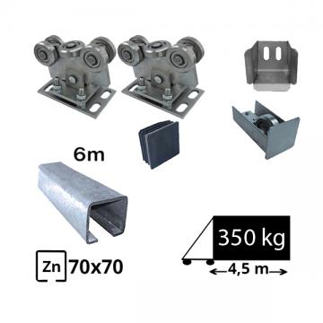 Kit SAP-70x70B-Zn Sistem autoportant pentru deschidere de 4,5 metri sina zincata