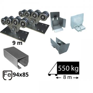 Kit SAP-94x85-Zn Sistem autoportant cu sina zincata pentru deschidere de 6,5 metri