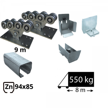 Kit SAP-80x80-Zn Sistem autoportant cu sina zincata pentru deschidere de 5,5 metri