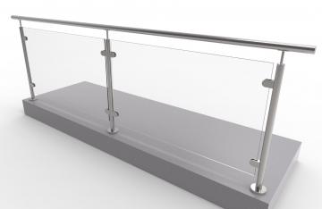 Kit balustrada din inox pentru sticla , inaltime 1000 mm, lungime 2700 mm (sticla nu este inclusa)