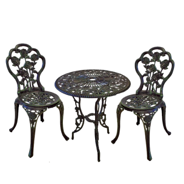 Set masa si 2 scaune pentru gradina model ROSE din aluminiu