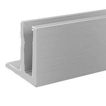 Profil aluminiu U cu prindere laterala AL0925-E finisaj satin efect elox lungime 2500 mm