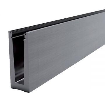 Profil aluminiu U AL0425-E finisaj satin efect elox lungime 2500 mm grosime sticla 12,00 - 21,52 mm